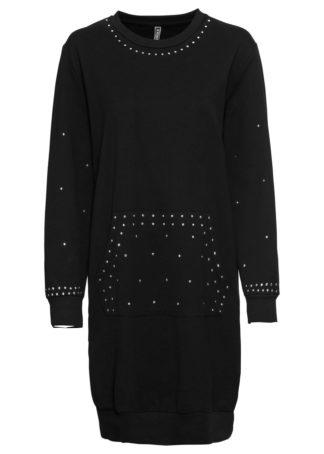 Sukienka dresowa z ćwiekami bonprix czarny