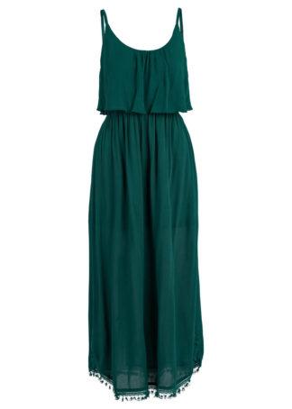 Sukienka midi z falbaną bonprix ciemnozielony