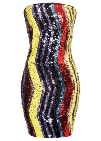 Sukienka bandeau na party bonprix czerwono-żółto-fuksja