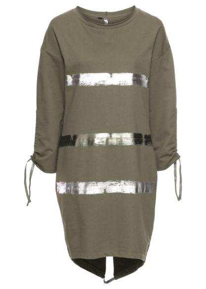 Sukienka dresowa bonprix oliwkowo-srebrny z nadrukiem