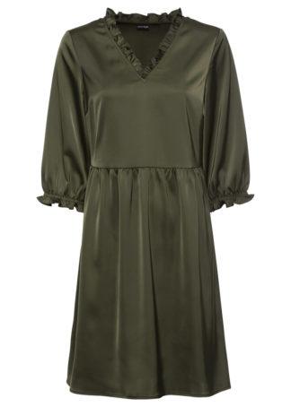 Sukienka satynowa bonprix ciemnooliwkowy