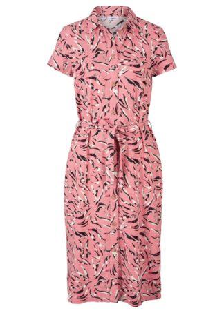 Sukienka lniana z nadrukiem bonprix dymny różowy z nadrukiem