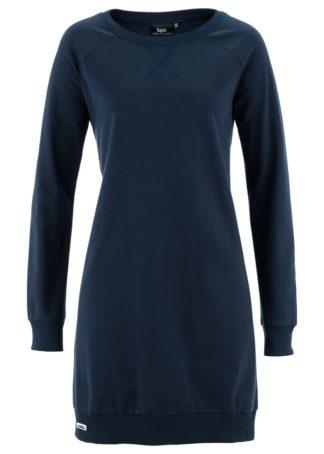 Sukienka dresowa z rękawami reglanowymi bonprix ciemnoniebieski