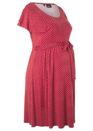 Sukienka shirtowa ciążowa bonprix czerwono-pomarańczowy w groszki