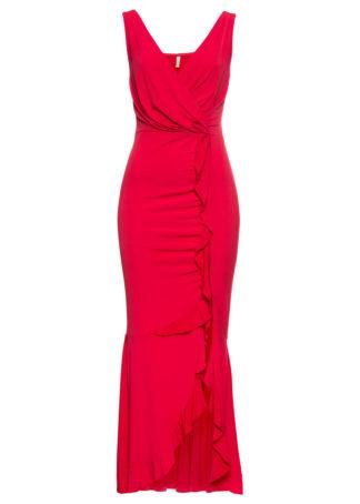 Długa sukienka z falbaną bonprix czerwony