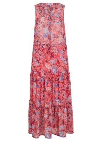Długa sukienka z falban bonprix matowy koralowy w kwiaty