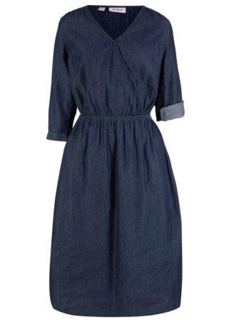 Sukienka dżinsowa z założeniem kopertowym