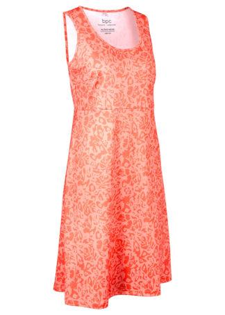 Sukienka funkcyjna z dżerseju bonprix mandarynkowo-łososiowy jasnoróżowy w kwiaty