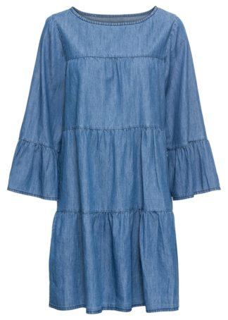 Sukienka z materiału w optyce dżinsu bonprix niebieski bleached