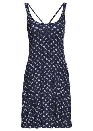 Sukienka shirtowa z nadrukiem bonprix ciemnoniebiesko-biały z nadrukiem