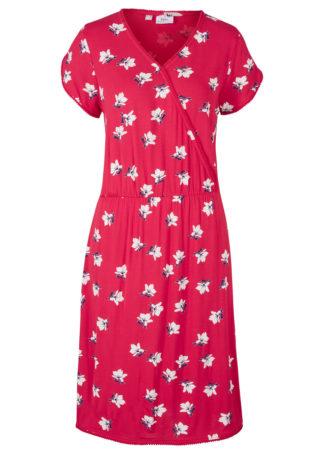 Sukienka shirtowa z założeniem kopertowym bonprix czerwony w kwiaty