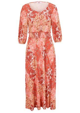 """Sukienka z kolekcji Maite Kelly z przeszyciem cienkimi gumkami bonprix czerwony cynamonowy """"paisley"""""""