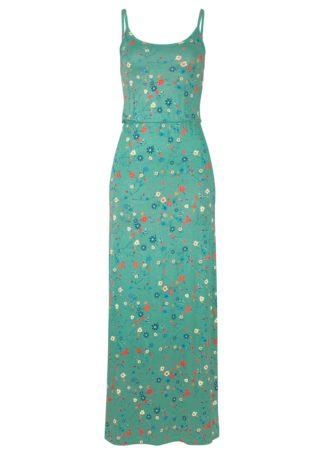 Długa sukienka z nadrukiem bonprix zielony szałwiowy z nadrukiem