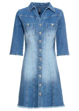 """Sukienka dżinsowa z rękawami 3/4 bonprix niebieski """"stone"""""""