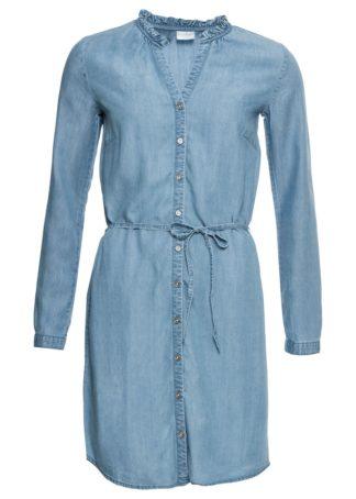 """Sukienka szmizjerka dżinsowa bonprix niebieski """"bleached"""""""