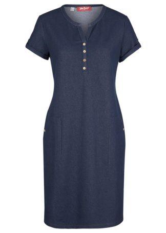 Sukienka shirtowa w optyce dżinsowej bonprix ciemnoniebieski