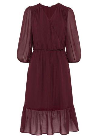 Sukienka szyfonowa bonprix czerwony klonowy