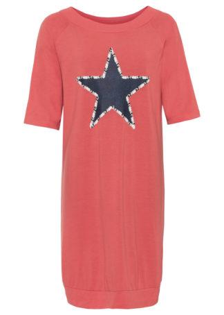 Sukienka shirtowa z motywem gwiazdy bonprix koralowy z nadrukiem