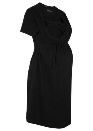 Sukienka z dżerseju dla ciężarnych i karmiących bonprix czarny