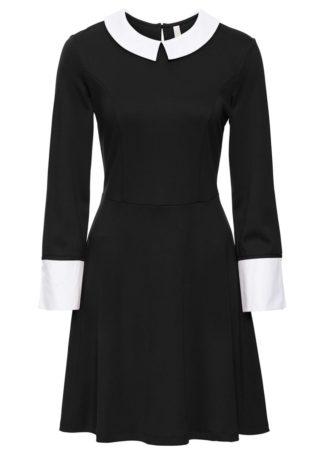 Sukienka shirtowa z kołnierzykiem bonprix czarno-biały