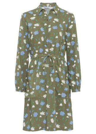 Sukienka z nadrukiem bonprix oliwkowy w kwiaty