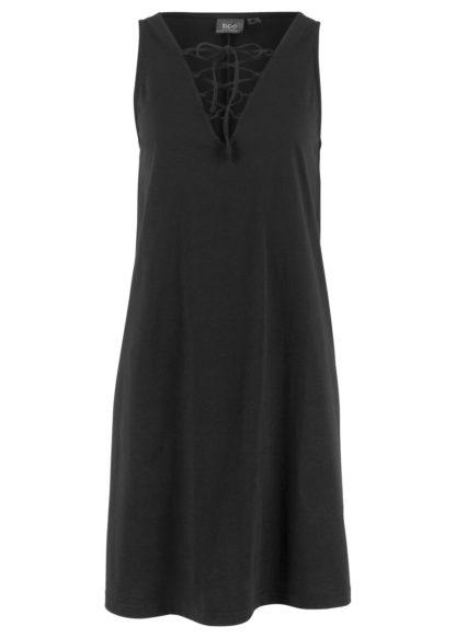 Sukienka z dżerseju ze sznurowaniem bonprix czarny
