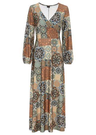 """Długa sukienka z efektem założenia kopertowego bonprix oliwkowo-pomarańczowy """"paisley"""""""