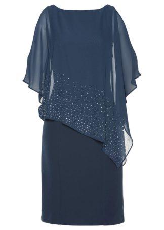 Sukienka ołówkowa z połyskującymi kamieniami bonprix ciemnoniebieski