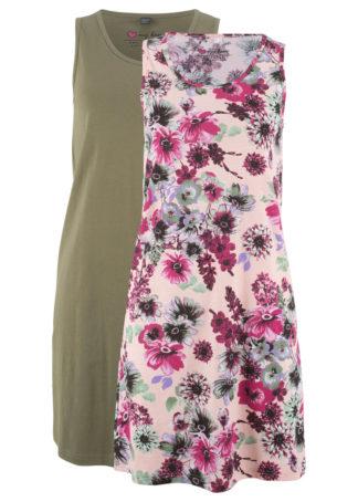 Sukienka z dżerseju (2 szt.) bonprix perłowy jasnoróżowy z nadrukiem + oliwkowy