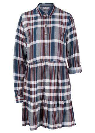 Sukienka z nadrukiem bonprix biel wełny - niebieski w kratę