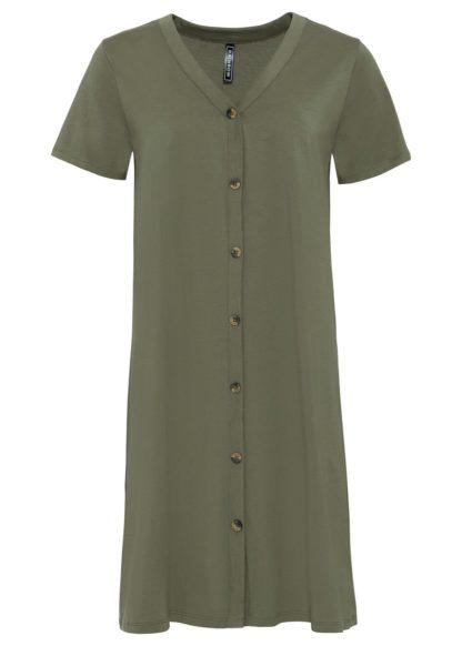 Sukienka koszulowa z guzikami z tworzywa w optyce masy rogowej bonprix oliwkowy