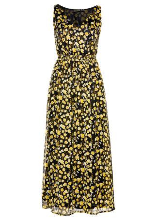 Sukienka szyfonowa bonprix czarno-żółty z nadrukiem