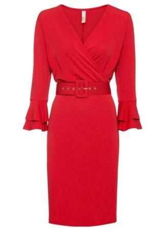 Sukienka z paskiem (kompl. 2-częściowy) bonprix czerwony sygnałowy