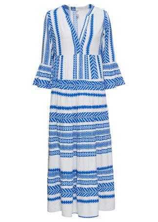 Długa sukienka bonprix biało-niebieski lodowy wzorzysty