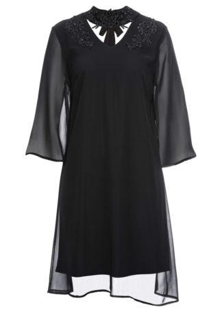 Sukienka z koronką i aplikacją bonprix czarny