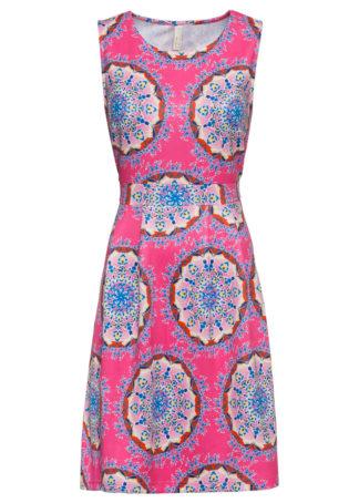 Sukienka z nadrukiem bonprix różowo-niebieski wzorzysty