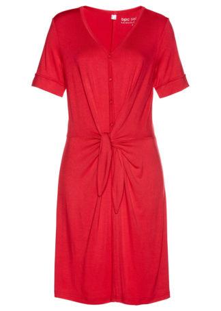 Sukienka shirtowa z przewiązaniem bonprix czerwony