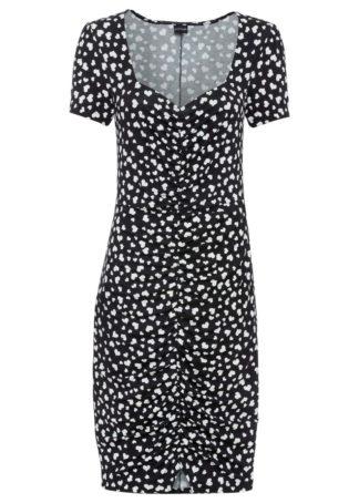 Sukienka z nadrukiem i marszczeniem bonprix czarno-biel wełny z nadrukiem