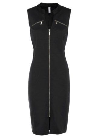 Sukienka shirtowa z zamkiem bonprix czarny
