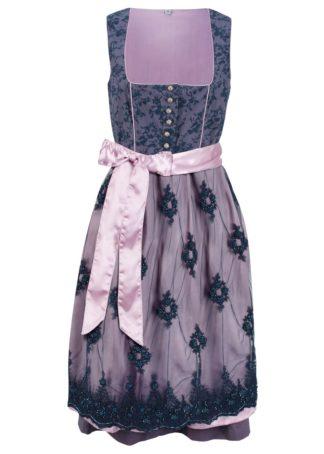 Sukienka w ludowym stylu z dekoltem w serce bonprix jagodowy wzorzysty