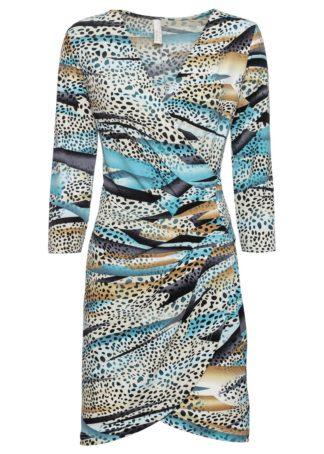 Sukienka kopertowa bonprix w cętki leoparda