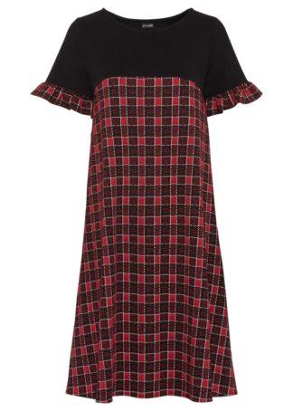 Sukienka z dżerseju w kratę bonprix czerwony w kratę