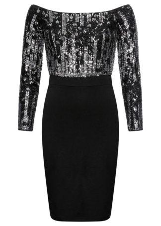 Sukienka na party bonprix czarno-srebrny