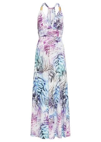 Sukienka z dżerseju z nadrukiem bonprix biało-niebiesko-lila z nadrukiem