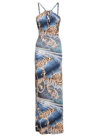 Długa sukienka z nadrukiem z motywem leopardów bonprix niebieski - leopard