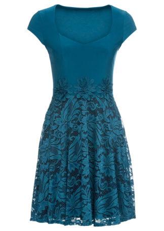 Sukienka z koronką bonprix niebieskozielony - czarny