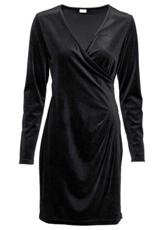 Sukienka aksamitna kopertowa bonprix czarny