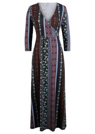 Długa sukienka z patchworkowym nadrukiem bonprix czarny wzorzysty