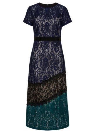 Sukienka koronkowa bonprix ciemnoniebiesko-czarno-ciemnozielony