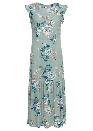 Sukienka midi w kwiaty bonprix turkusowy z nadrukiem